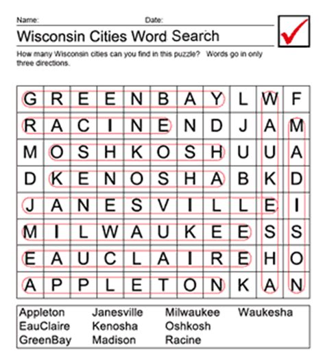 Wisconsin Search Wisconsin Cities Word Search Answer Sheet Us Geography