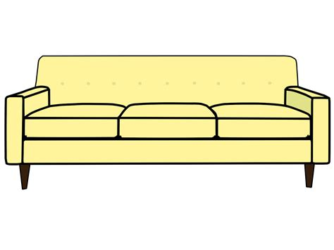 cartoon transparent yellow cartoon couch with 3 cushions
