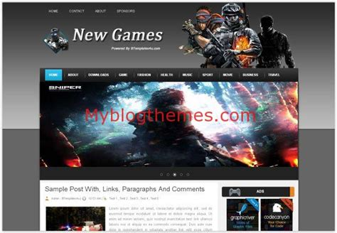 abstract new games blogger theme template