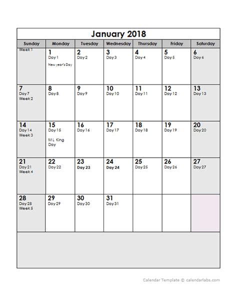 2018 Calendar Dates 2018 Calendar With Julian Dates Free Printable Templates