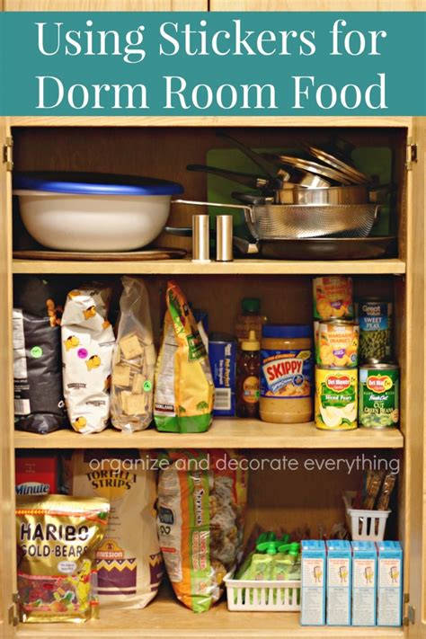 using food in the bedroom using stickers to label dorm room food organize and decorate everything