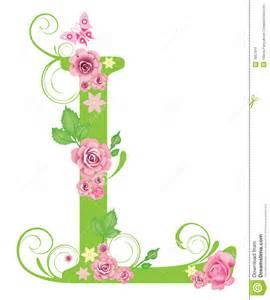 lettre l avec des roses image libre de droits image 7967416