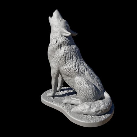 wolf howling  print model cgtrader