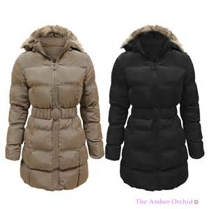 ladies womens puffer quilted padded fur hooded belted