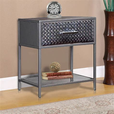 metal nightstand metal nightstand charcoal walmart