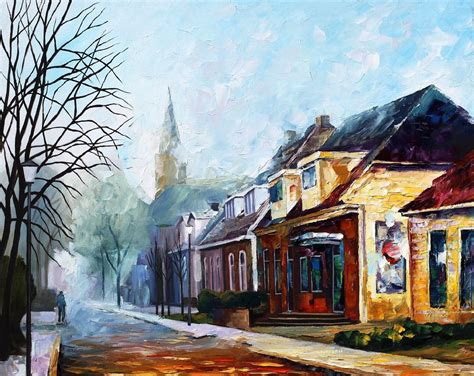 Painting Of Houses | house palette knife oil painting on canvas by leonid