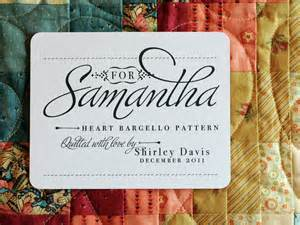 personalized quilt label for patch by shannahjsmith on