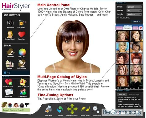 hairstyle picker virtual hairstyle selector online beglamorous com