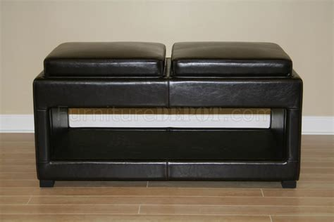 ottoman with built in tray contemporary storage brown leather ottoman with built in trays