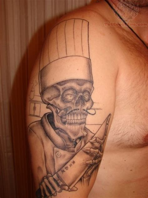 tattoo chef cartoon grey ink chef skeleton with knife tattoo on half sleeve