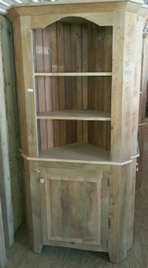 Unfinished Furniture Hutch Antique Amish Built Unfinished Reclaimed Barn Wood Corner