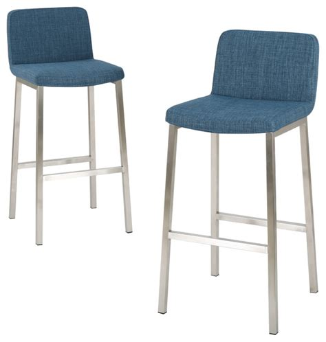 Blue Bar Stools Kitchen Furniture Santino Fabric Bar Stools Set Of 2 Blue Contemporary Bar Stools And Counter Stools By