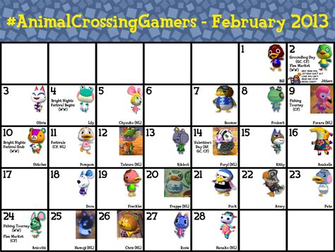 printable animal crossing new leaf guide search results for animal crossing birthday calendar