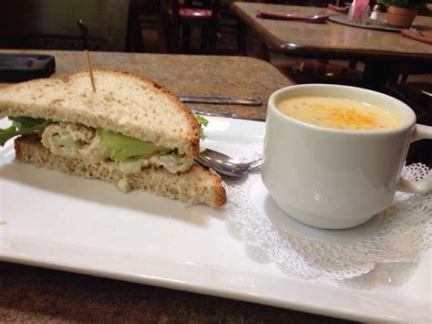 josephine tea room 1 2 chicken salad sandwich and cup of broccoli cheddar soup yelp