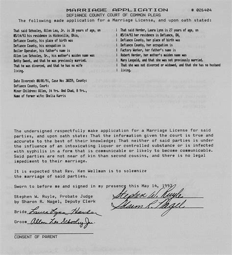 Allen County Ohio Marriage Records Genealogy Data Page 219 Notes Pages