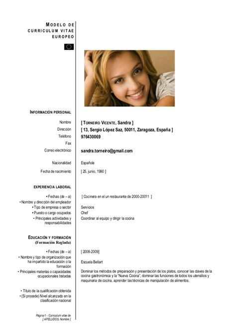 Modelo Curriculum Europeo Completado modelo cv europeo