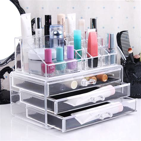 Cosmetic Rack Display by Three Layer Drawer Clear Acrylic Cosmetic Organizer Makeup