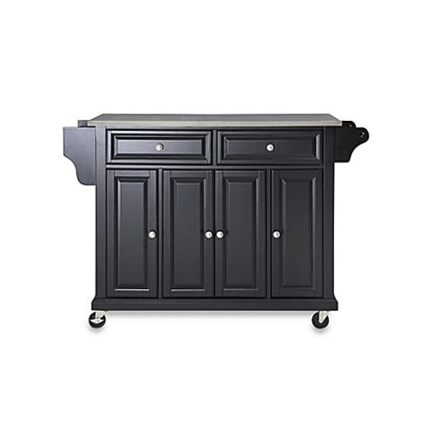 kitchen island cart stainless steel top buy crosley rolling kitchen cart island with stainless steel top in black from bed bath beyond