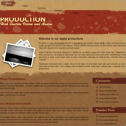 website templates for video production company production free website templates in css html js format