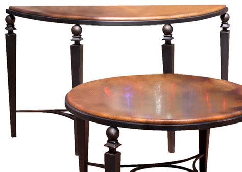 artisan home tribecca sofa table with copper top and cast