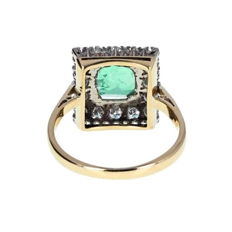 square emerald gold cluster ring for sale at 1stdibs