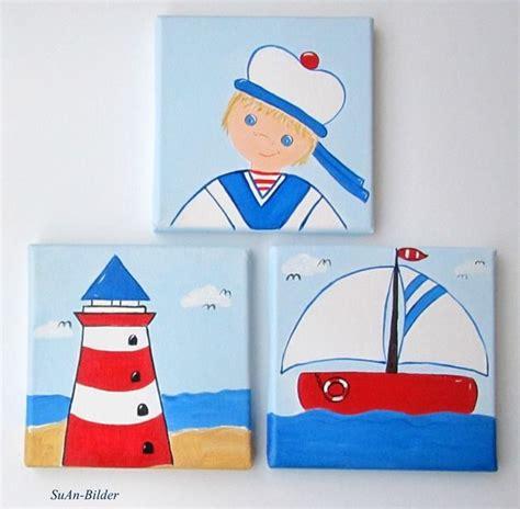 bild kinderzimmer segelboot wandgestaltung kinderbild kleiner matrose leuchtturm