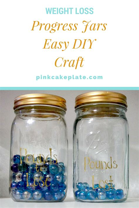 weight loss jars weight loss progress jars easy diy project pink cake plate