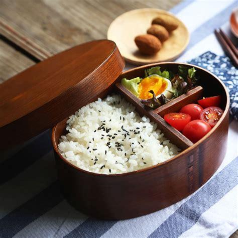 Japanese Wooden Bento Box Decker japanese style wooden lunchbox creative oval bento box