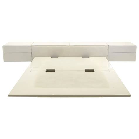 Platform Bed With Nightstands Attached Ivory Platform Bed With Attached Nightstands And Headboard Storage Rougier At 1stdibs
