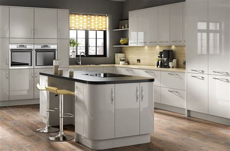 Light Grey Kitchen Parma High Gloss Light Grey Kitchen Designer Range