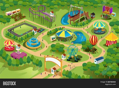 theme park creator free amusement park map vector photo bigstock