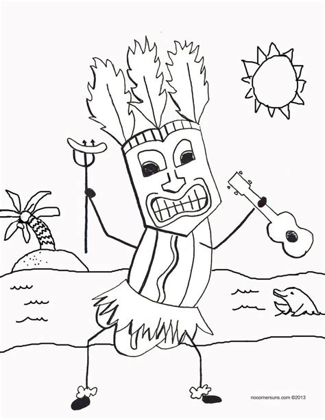 hawaiian tiki men coloring pages coloring pages