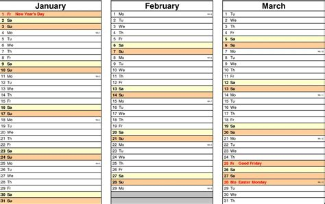 printable quarterly calendars calendar template