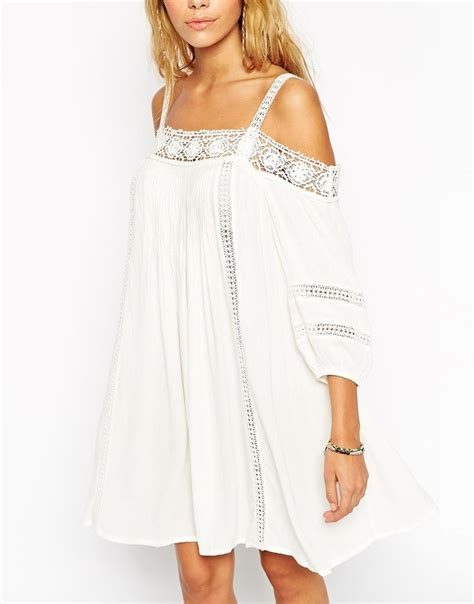 shoulder swings image 3 of asos boho swing dress with crochet inserts and
