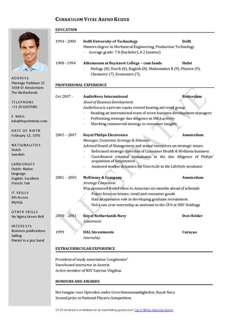 Cv Template Word by Free Curriculum Vitae Template Word Cv Template
