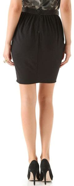 draped tulip skirt alice olivia tulip draped skirt with leather combo in