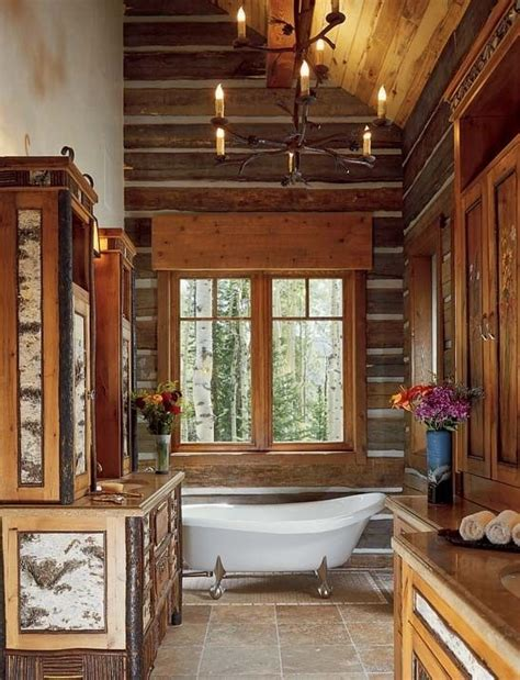 log home bathrooms rustic log home bathroom cabin fever pinterest