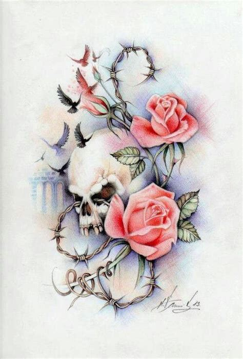 rose and barbed wire tattoo w black roses birds cool cool ideas