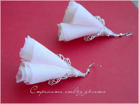 Anting Ribbon Ring Pink 02a37fr 17 best images about my fabric earrings моите обици от