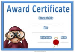 children s certificate template award certificates with curious george