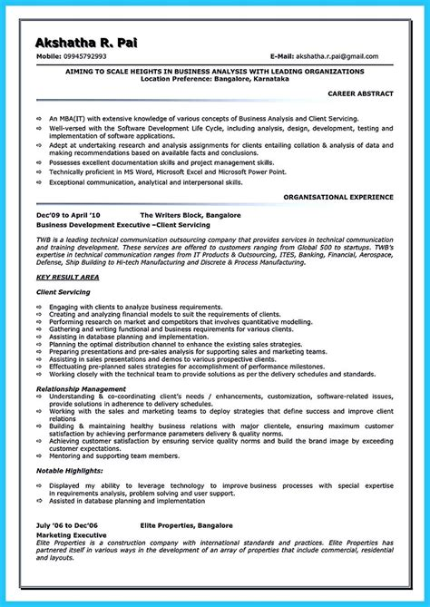 Resume For Business Analyst by Business Analyst Resumes Cover Letter