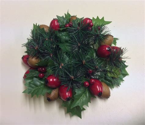 new 3 quot christmas candle ring decoration holly mixed