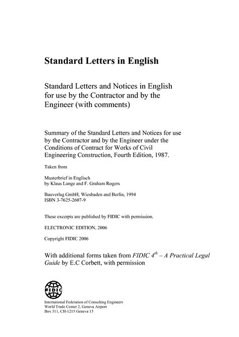 FIDIC | Standard Letters | International Federation of