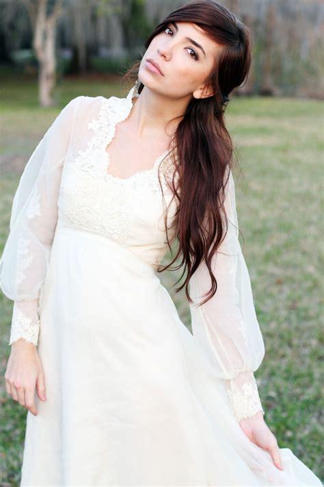 Brautkleider 70er Stil by Vintage Wedding Gown 70s Boho Hippie Lace And Sheer Wedding