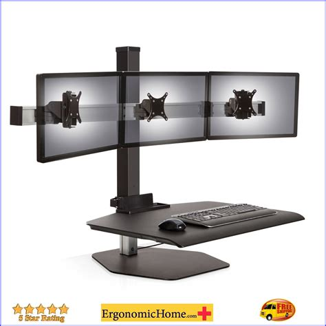 triple monitor desk mount sit stand desk adjustable monitor stand innovative