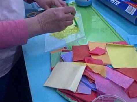 How To Make Paper Glass - tissue paper stained glass at pufferbellies