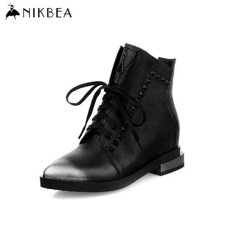 womans lace up boots aliexpress buy 2016 nikbea black ankle boots genuine