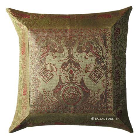 gold silk brocade elephant decorative accent toss pillow