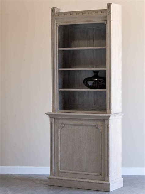 shallow antique painted oak display cabinet