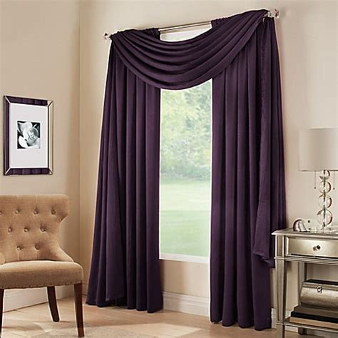 how to put a curtain scarf up buy midtown window scarf valance in plum from bed bath